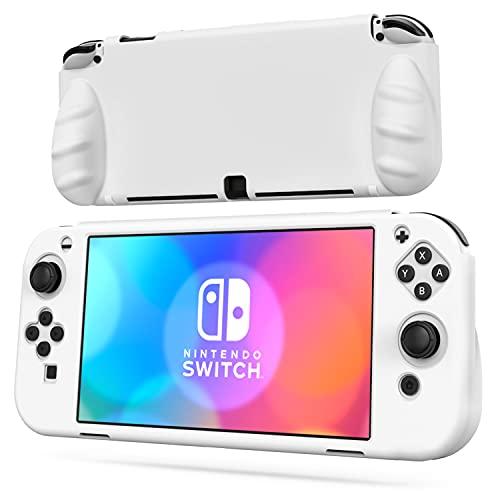 OIVO Switch OLED Dockable Custodia protettiva in silicone compatibile con Nintendo Switch OLED, Switch OLED Soft Dockable Cover protettiva con 2 slot per gioco per interruttore OLED Console - Bianco