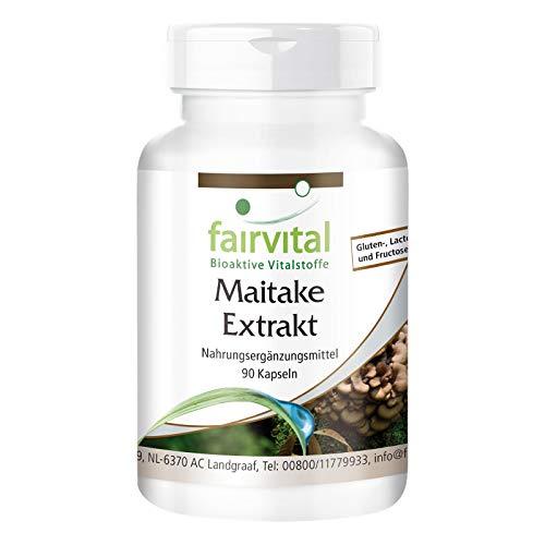 Maitake Extrakt Kapseln 500mg - HOCHDOSIERT - VEGAN - 90 Kapseln - Pilzextrakt mit 30% Polysaccharide