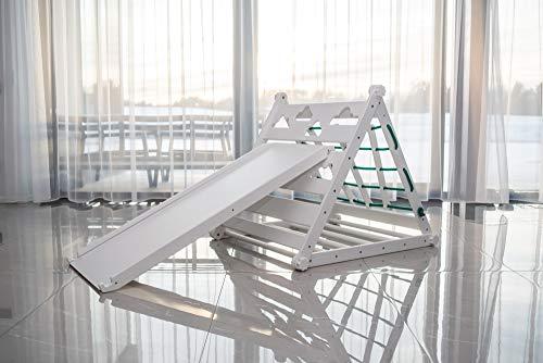 EWART WOODS - Scaletta regolabile per bambini, a forma di triangolo con scritta in inglese 'Montessori', regolabile, per arrampicatore, per palestra, pieghevole, colore: Bianco