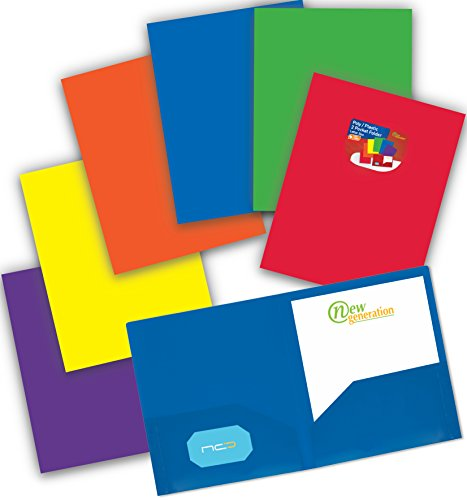 NEW GENERATION - Heavy Duty Plastic 2 Pocket Folder, 6 Pack Assorted Primary Colors Poly Folders for Letter Size Papers, Includes Business Card Slot, Great to use at School, Home, Work and Storage