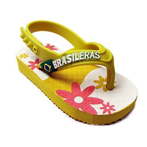 Chanclas de Playa BRASILERAS®,Baby Flowers,Hecho en Brazil. Suela Antideslizante del 19 al...