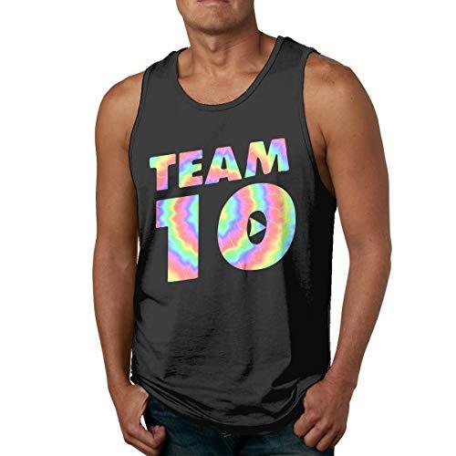 Abigails Home Team10Jake-Paul Mens débardeur Chemises sans Manches t-Shirt de Sport de Basket-Ball t-Shirt de Remise en Forme en Plein air(3XL,Noir)