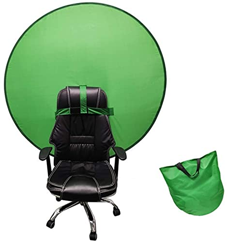 Background Screen, Green Portable Backdrop Background with Hook Strap for Chair, 4.65ft Pop Up Photography Backdrop, Collapsible Chroma Key Panel with Carry Bag