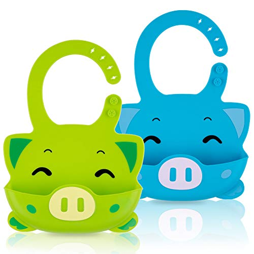 Price comparison product image Silicone Baby Bibs Waterproof Adjustable Baby Bib with Food Catcher Pocket Set of 2 Colors Easily Wipe Clean (piggy-Green / Sky blue)
