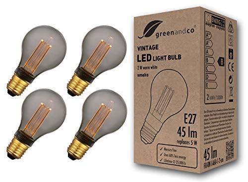 4x greenandco® Vintage Design LED Lampe zur Stimmungsbeleuchtung E27 A60 Edison Glühbirne 2W 45lm 2000K smoke extra warmweiß 320° 230V flimmerfrei nicht dimmbar 2 Jahre Garantie