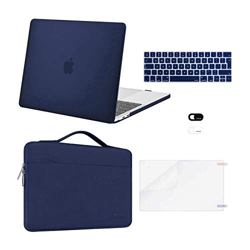 MOSISO Compatible with MacBook Pro 13 inch Case 2016-2020 Release A2338 M1 A2289 A2251 A2159 A1989 A1706 A1708, Plastic Hard Shell Case&Bag&Keyboard Skin&Webcam Cover&Screen Protector, Navy Blue