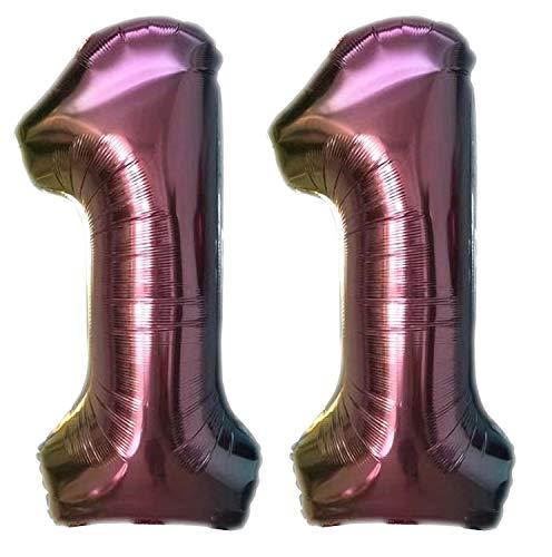 TopTen Folienballon Zahl 11 Bunt XL ca. 72 cm hoch - Zahlenballon / Luftballon für Geburstagsparty, Jubiläum oder sonstige feierliche Anlässe (Nummer 11)