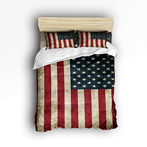 Laibao Home 4 Piece Bedding Set for Children/Adults/Kids/Teen, Soft Bed Sheets, Duvet Cover, Flat Sheet, Pillow Covers,Vintage American USA Flag Printing Bedding Sets Queen Size