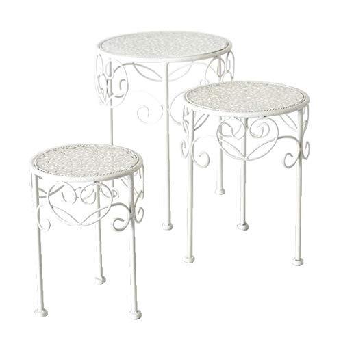 Meinposten. Beistelltisch weiß Metall Telefontisch Pflanzentisch Blumenständer Tisch niedrig (Groß 39 cm)