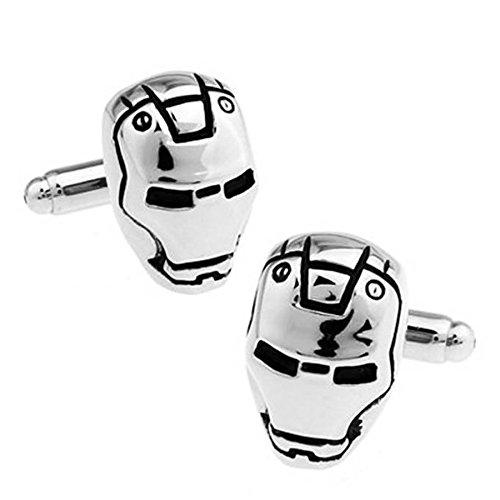 Samt-Box-Silber Design Iron Man Super Hero Manschettenknöpfe Men's Fashion Jewelry Manschettenknöpfe Party Shirt Hochzeitsgeschenk