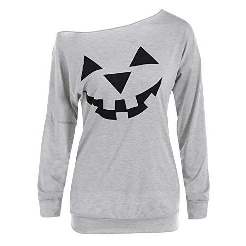 WLZQ Camiseta De Manga Larga con Estampado De Calabaza De Halloween para Mujer