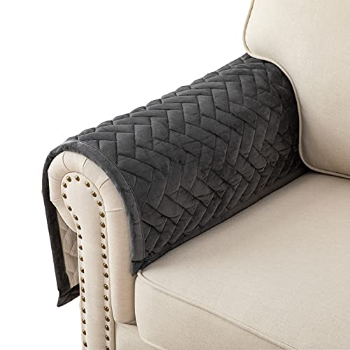 Eismodra Couch Cover,Sofa Cover,Armrest Covers,Backrest Covers,Anti-Slip Armchair Slipcovers for Dogs Cats Pet Loveseat Recliner Leather L Shaped,Dark Gray 28 x 28 Inches (Only 1 Piece)