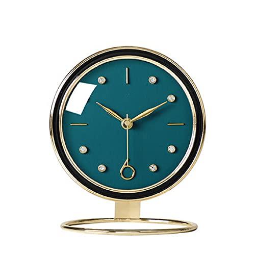 YRHH Mesa Reloj De Mesa De Metal Sala De Estar Doméstica Reloj De Mesa De Oficina Decoración Silenciada Reloj De Mesa Pequeño Reloj De Péndulo De Pie Libre-A