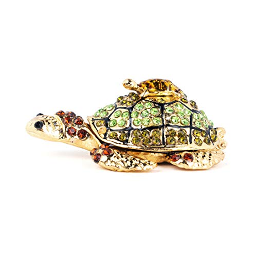 YU FENG Diamond Turtle Trinket Jewelry Box Hinged Collectible,Cute Mom-Baby Turtle Figurines,Turtle Lover Gifts