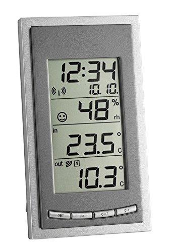 TFA Dostmann Diva Go Funk-Thermometer, zur Raumklimakontrolle, Höchst-und Tiefwerte, inkl Aussensender, grau