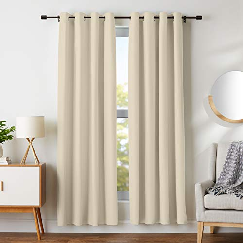 AmazonBasics Room Darkening Blackout Window Curtains with Grommets  - 42 x 84, Taupe, 2 Panels