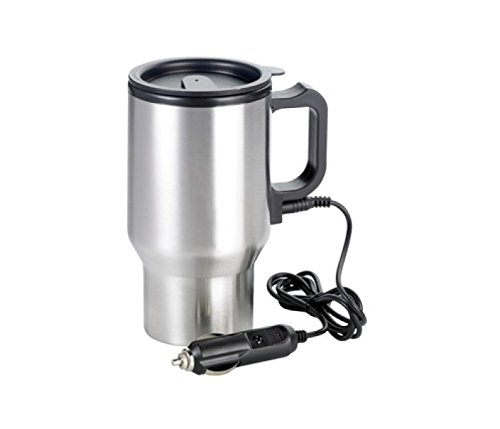 12V Stainless Steel Travel Heated Thermos Coffee Mug Cup Plugin Car Charger LW4