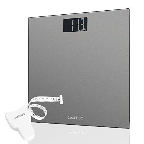 Cecotec Báscula de baño digital Surface Precision 9200 Healthy alta precisión Plataforma de acero inoxidable , pantalla LCD invertida,capacidad máxima de 180kgr.Con cinta métrica.