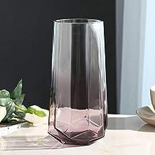 Flower Bottle Transparent Glass Cylindrical Hydroponic Plant Vase Jewelry Wedding Decoration (21.5 * 8.5cm)
