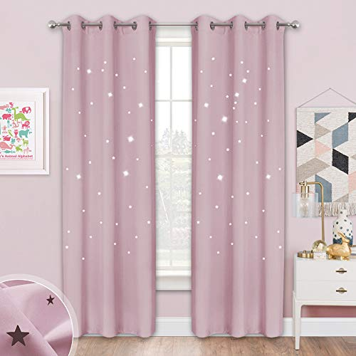 NICETOWN Twinkle Star Blackout Curtains - 84 inches Long Starry Sky Thick and Soft Room Darkening Drapes with Die-Out Stars for Princess Bedroom, 42 inches Wide, Lavender Pink=Baby Pink, 1 Pair