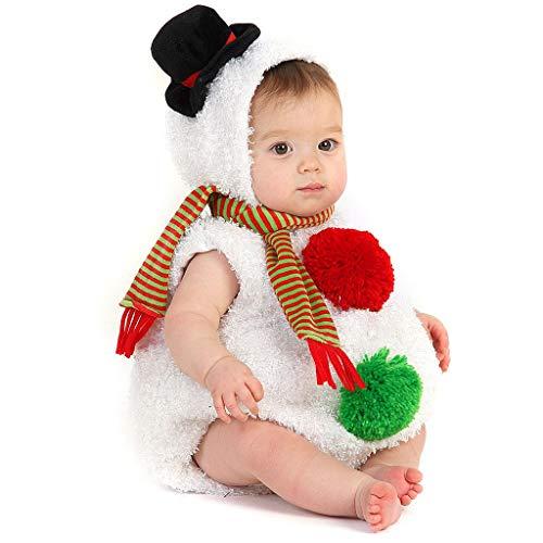 Spritumn Navidad Baby Monos Disfraz de Muñeco de Nieve Modelado Mameluco de Felpa y Bufanda A Rayas Conjuntos Tops Sin Manga con Capucha Disfraces Christmas (12-18 Meses)