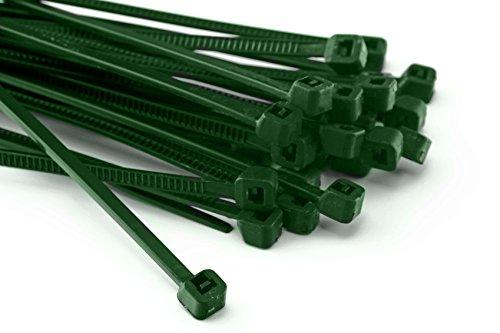 Kabelbinders, 100 stuks, 200 x 3,6 mm, voor schaduwnet, hek, omheining, groen, 200 x 3,6 mm