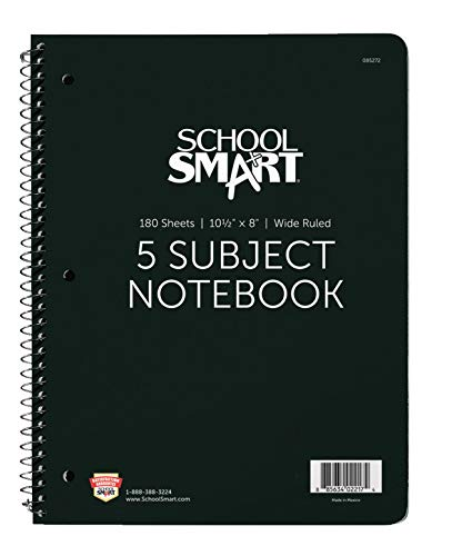 School Smart - 85272 Spiral Non-Perforated 5 Subject Wide Ruled Notebook, 10-1/2 x 8 Inches
