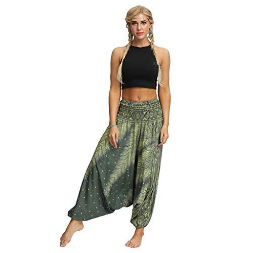 POTO Harem Pants for Women, Women Baggy Yoga Pants Boho Hippie Bohemian Trousers Smocked Waist Palazzo Beach Pants D-Green