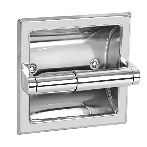 KEILEOHO 2 Pack Recessed Toilet Paper Holder Mirror Finish Stainless Steel Built-in Tissue Paper Rack Stable Anti Corrosion Wall in Roll Paper Dispenser Applicable for Cement Wall and Wooden Wall