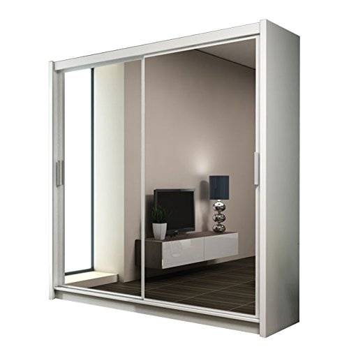 Kleiderschrank mit Spiegel Paries, Modernes Schwebetürenschrank, Schiebetür, Schlafzimmerschrank, Schlafzimmer (160 cm, Weiß/Spiegel)