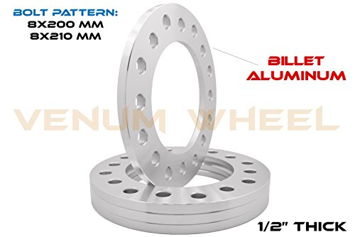 """4 Pc 8 Lug Wheel Spacers 8x200 MM & 8x210 MM   1/2"""" Thick   Compatible with Silverado Sierra 3500 Dually 2010-2019   2005-2019 Ford F-350 Dually (1/2"""" (12 mm))"""