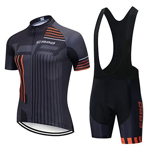 HAIHF Fietskleding voor heren, set met korte mouwen, ademend, Quick-Dry Shorts met kussentjes, gelset, fietskleding MTB