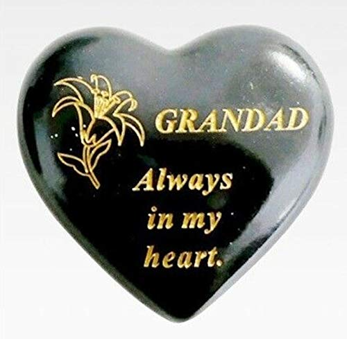 DF Family Memorial Small Black & Gold Lily Heart Gravestone Garden Ornament (Black - Grandad)