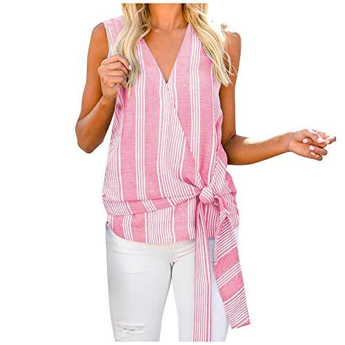 Kpasati Damen Sommer V-Ausschnitt vertikale Streifen Einteilige Bluse mit Krawatte Tanzschleife Sexy ärmellos Tops