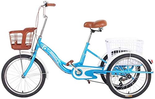 HOCOL 20pulgadas Triciclos para Adultos Bicicleta De Una Velocidad 20pulgadas 3 Pedal De Ciclo De La Bici del Triciclo De La Defensa De La Rueda con La Cesta Delantera De La Cesta De La Compra -Azul