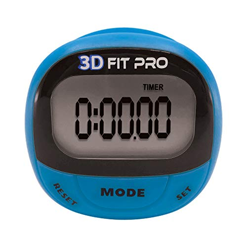 Champion Sports 3D Fitpro Digital Pedometer for Men and Women - Accurate Step Tracker for Walking, Running, to Track Calories, Distance, Speed and Duration - Premium Fitness Accessories - Blue