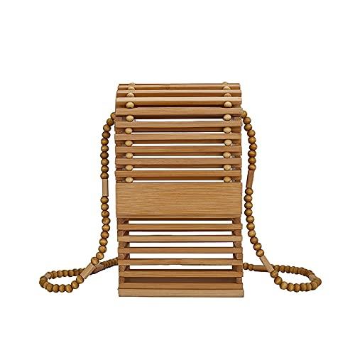 FFHADV Bolso de playa para mujer, hecho a mano, de bambú, tejido hueco, literario y literario, color caqui, tamaño: 10 cm x 17 cm x 5 cm
