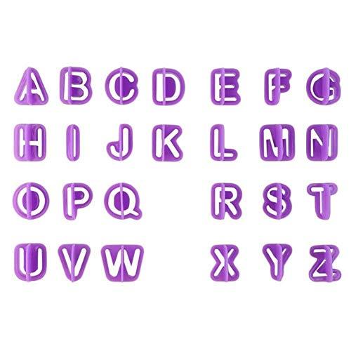 Juego de 40 cortadores de letras para fondant alfabeto glaseado, decoración de letras, cortador de moldes de galletas con mango Fondant DIY Craft Set
