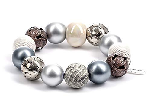 Stephisimo Damen Kugelarmband Bollywood Silber Creme BG 8868