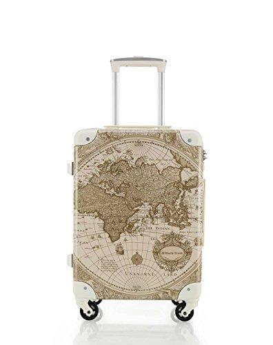[ワールド トランク] スーツケース 機内持ち込み 保証付 32L 46 cm 2.9kg ベージュ地図柄