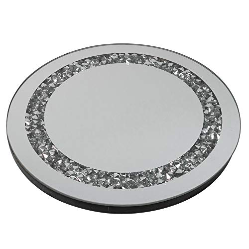 Formano Deko rundes Spiegeltablett Stones mit Spiegelsteinchen aus Spiegelglas, 25x25cm, 1 Stück