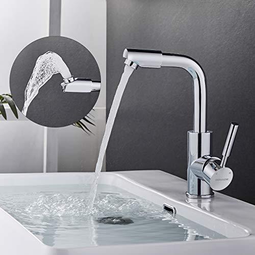 BONADE - Grifo giratorio 360º para baño o cocina, grifo monomando de latón cromado para cuarto de baño