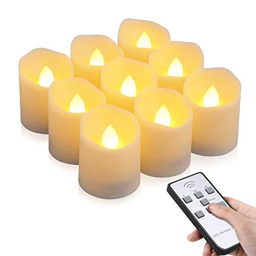 Velas LED sin Llama, otumixx Pack de 9 Velas LED Sin Fuego con Mando a Distancia y Temporizador, Velas Eléctricas con Baterías para Bodas, Cumpleaños, Fiestas, Navidad, Halloween