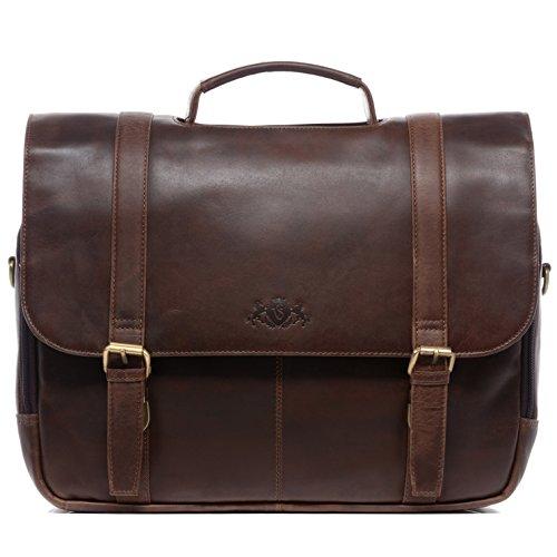 """SID & VAIN Lehrertasche echt Leder Spector XL groß Laptoptasche Uni-Tasche Aktentasche College Laptopfach 15.6\"""" Ledertasche Herren braun"""