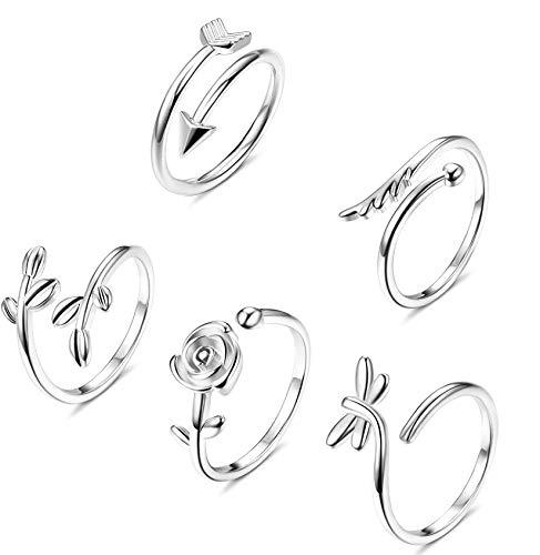 CASSIECA 5PCS Rame Aperto Regolabile Anello per Donna Ragazze Onda Mare Foglia Ali Anelli Vintage Rose Fiore Semplice Anello di Fidanzamento Argento Jewels