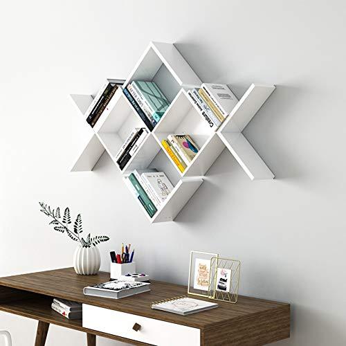 L&T Estantería flotante en forma de V, organizador moderno para libros, estantería para colgar en la pared, unidad de almacenamiento de 2 unidades