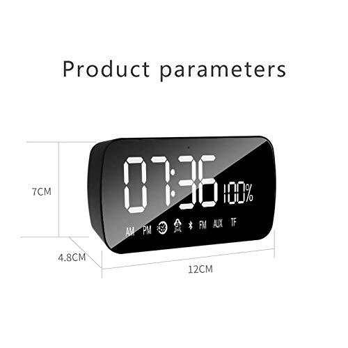 FPRW Digitale wekker, bluetooth, elektronisch whiteboard, snooze despertader, kantoorklok, met spiegeltemperatuurweergave, zwart