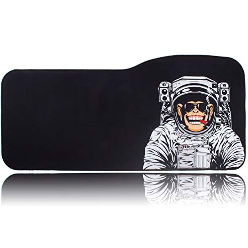 BRILA Extended Mouse pad - Curve Design Gaming Mouse pad - Stitched Edges & Skid Proof Rubber Base - 29' x 13.8' x 0.12' X-Large Mouse Keyboard Desk Mat for Computer Laptop (Monkey Astronaut)