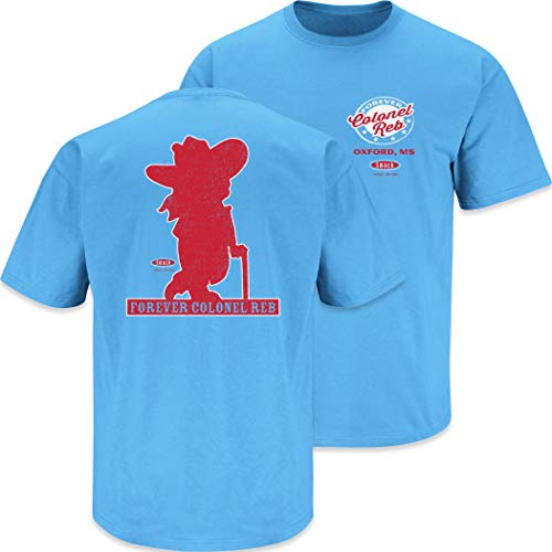 Ole Miss Football Fans. Forever Colonel Reb T Shirt (Sm-5X) (Light Blue Short Sleeve, X-Large)