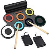 Paxcess 7 Pads Electronic Drum Set, Roll-Up Drum Practice Pad Drum Kit with Headphone Jack Built-in Speaker Drum Pedals Drum Sticks 10 Hours Playtime, Great Holiday Birthday Gift for Kids (Colorful)